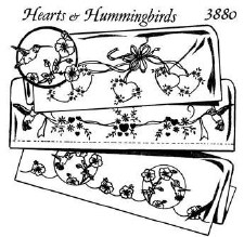 Aunt Martha's Iron On Transfers- Hearts & Hummingbirds #3880