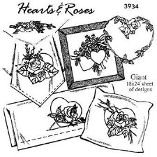 Aunt Martha's Iron On Transfers- Hearts & Roses #3934