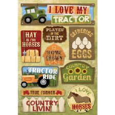 Cardstock Stickers- I Love My Tractor