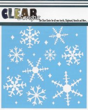 Clear Scraps 12x12 Stencil- Ice Crystal Snowflakes