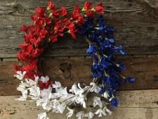 "Patriotic Wreath, 24""- Red, White & Blue Azaleas"
