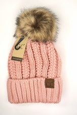 CC Knit Beanie, Cuffed w/ Fur Pom- Indie Pink