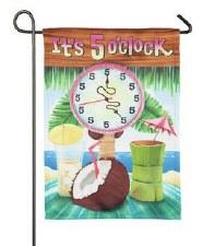 Garden Flag, Suede- It's 5 O'Clock