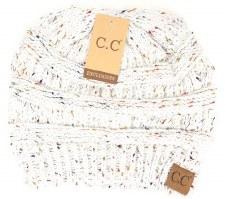 CC Knit Beanie- Ivory Confetti