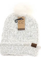 CC Knit Beanie w/ Fur Pom- Eyelash Yarn, Ivory