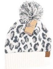 CC Knit Beanie, Leopard Print- Ivory
