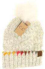 CC Knit Beanie, Ombre Thread w/ Pom- Ivory