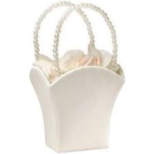 Flower Basket- Ivory w/ Pearls