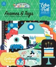 It's Your Birthday Boy Ephemera Die Cuts- Frames & Tags