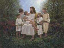 Faith & Inspirational Fabric Panel- Jesus with Children