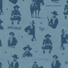 John Wayne Bolted Fabric- Silhouettes, Blue