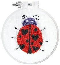 "Punch Needle Kit w/ Hoop, 3.5""- Ladybug"