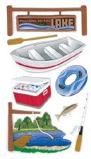 Jolee's Outdoors Dimensional Stickers, Large- Lake Activities