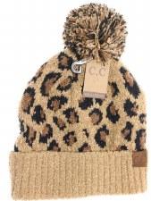 CC Knit Beanie, Leopard Print- Latte