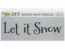 """DIY Rustic Sign Stencil, 16.5""""x6""""- Let It Snow"""