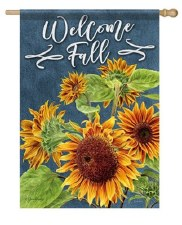 "House Flag, 28""x40"" Welcome Fall with Sunflowers"