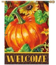 "House Flag, 28""x40""- Welcome Pumpkin"