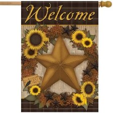 "House Flag, 28""x40""- Sunflower Star Wreath"