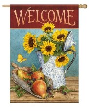 "House Flag, 28""x40"" Welcome with Sunflowers and Pears"