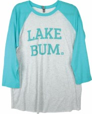 Lake Bum Raglan, Tahiti Blue & Gray- L