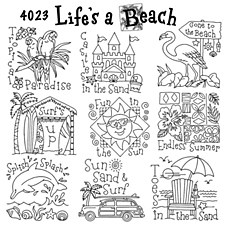 Aunt Martha's Iron On Transfers- Life's a Beach #4023