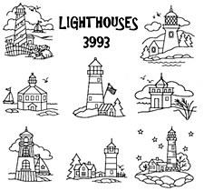 Aunt Martha's Iron On Transfers- Lighthouses #3993