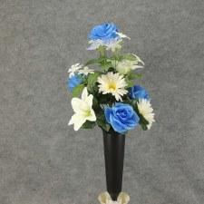 Pre-Made Memorial Cone Arrangement- Blue & Cream: Gerbera, Rose, & Lily