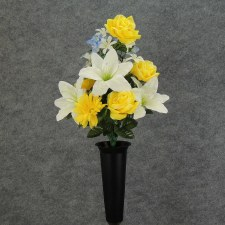 Pre-Made Memorial Cone Arrangement- Yellow & White: Lily, Roses, & Daisies