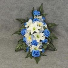 Pre-Made Memorial Saddle Arrangement- Blue/White