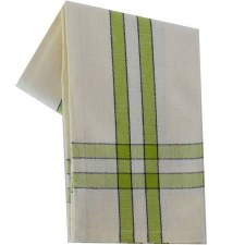 "Two Striped Cream 20""x28"" Tea Towel- Lime with Black"