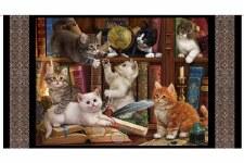 Animals Fabric Panel- Literary Kitties
