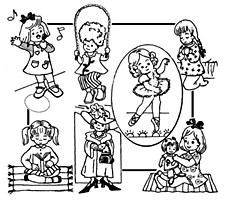Aunt Martha's Iron On Transfers- Little Girl Tea Towels #3912