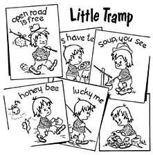 Aunt Martha's Iron On Transfers- Little Tramp #3834