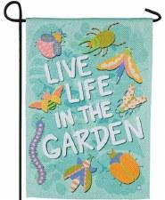 Garden Flag, Suede- Live Life Garden