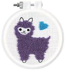 "Punch Needle Kit w/ Hoop, 3.5""- Llama"