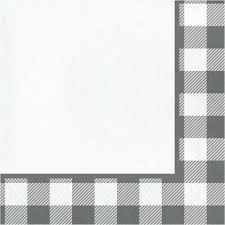 Gray and White Check Lunch Napkin - 16ct.