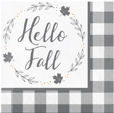 Grey & White Check Fall Napkins- Luncheon, 16ct