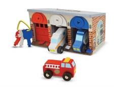 Melissa & Doug Wooden Toy Set- Keys & Cars Rescue Garage