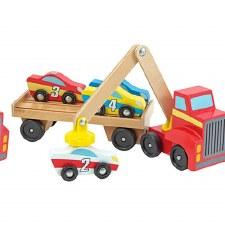 Melissa & Doug Wooden Toy Set- Magnetic Car Loader