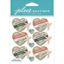 Jolee's Travel Dimensional Stickers- Map Heart Airplanes