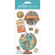 Jolee's Travel Dimensional Stickers, Large- Map Medallions