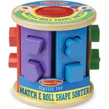 Melissa & Doug Wooden Toy- Match & Roll Shape Sorter