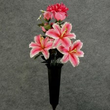 Pre-Made Memorial Cone Arrangement- Pink: Rose, Lily, Daisy