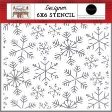 Farmhouse Christmas 6x6 Stencil- Merry Snowflakes
