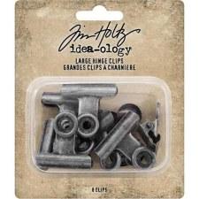 Tim Holtz Metal Clips- Large Hinge, 8pk