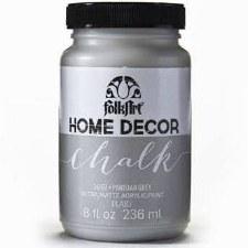 FolkArt Home Decor Chalk Paint 8 oz- Metallic Silver
