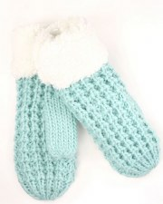 CC Mittens, Chunky Knit & Fuzzy Lined- Mint