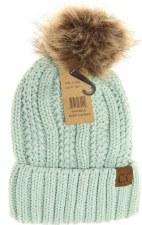 Kid's CC Knit Cuffed Beanie w/ Fur Pom- Mint