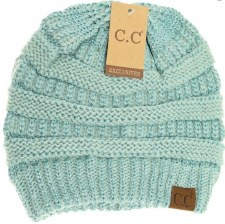 CC Knit Beanie- Mint Metallic