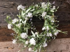 "Spring Wreath, 22""- Mixed White Flowers"